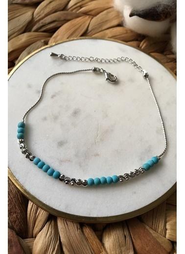 My Joyas Design Mavi ve Gri Boncuk Sıralı Halhal Gümüş